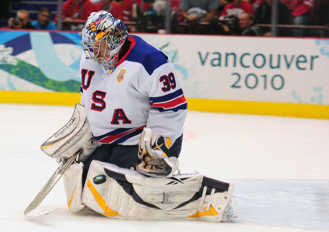 Ryan Miller makes one of his 42 saves against Canada in 2010 prelim game. (USATSI)