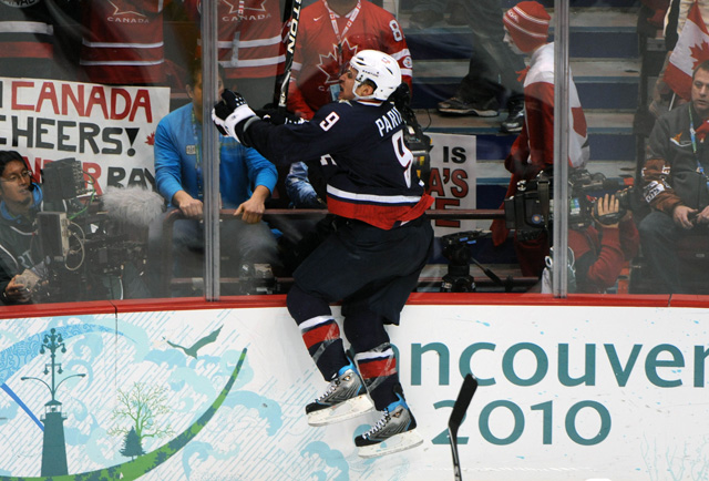 Zach Parise celebrates his game-tying goal in the gold-medal game in 2010. (USATSI)