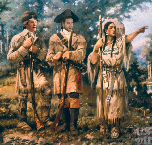LEWIS AND CLARK, 1805.  With Sacagawea at Three Forks of the Missouri.